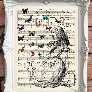 ALICE in Wonderland Quote Art Print Alice in Wonderland Decoration Shabby Chic Decor Mad Hatter Party Alice in Wonderland Print Music C:A036