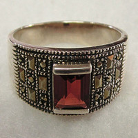 Sterling Silver Marcasite Garnet Ring Size 10