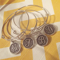 Alex and Ani inspired/style Initial Charm bangle silver