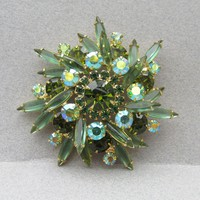 Juliana D & E Lime Green Navette Rhinestone Layered Vintage Pin