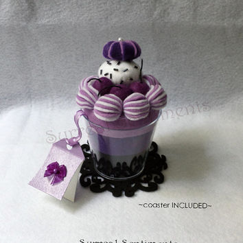 Black Cherry Ice Cream Cake Felt Cup, Gift Tag & Box Incl. Birthday Card Gift, Sister Gift, Cute Kawaii Dessert Desk Decor, Unique Gift Tag