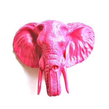 Faux Taxidermy Large Elephant Head wall mount: Pinda the elephant in hot pink