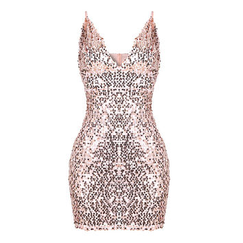 Sexy Deep V Neck Spaghttie Strap Women Sequined Dress Elegant Party Backless Sleevless Bodycon Vestidos Glitter Feminino Dress