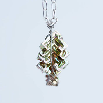 Iridescent bismuth and silver plated bead necklace - FREE SHIPPING - bismuth necklace - bismuth jewelry - wire-wrapped bismuth crystal