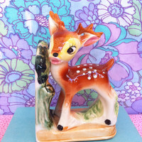Deer figurine bookend!! Adorable 1950's, vintage, kitsch, retro china Bambi/ fawn book-end! Kitschy cute, retro decor!
