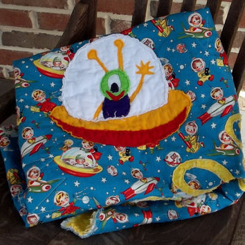 "retro baby rag quilt, ""Outer Space"" Michael Miller fabric"