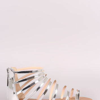 Qupid Mirror Metallic Toe Ring Strappy Gladiator Flat Sandal