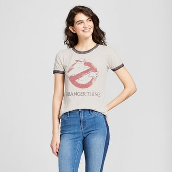 Women's Stranger Things® Ghostbusters® Short Sleeve Ringer Graphic T-Shirt (Juniors') - White