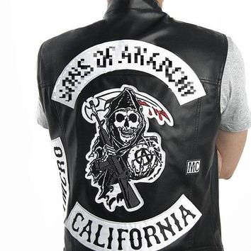 Dropshipping  Son Anarchy of Jackets Vest Harley Motorcycle Embroidery Leather Black Punk Vest Cosplay costume