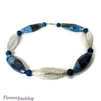 Blue silver agate necklace, agate beads gemstone necklace, Thai silver statement necklace, magnetic clasp, modern design choker,