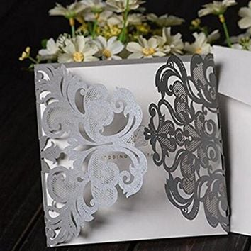 50pcs Sample  Luxury Silver Gray Laser Cut Lace Floral Wedding Invitation Invite Card, Cover Only  Wedding Event  Supplies