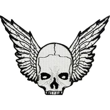 Winged Skull Patch Black & White 3""