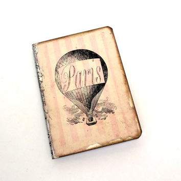 Paris Travel Journal, Mini Paris Notebook, Hot Air Balloon, Parisian, Steampunk, Paris Party Favor, Pale Pink Stripes, French Journal