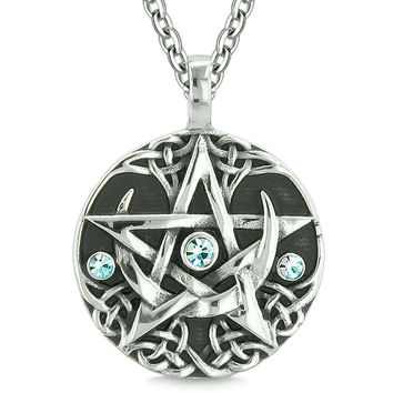 Amulet Pentacle Magic Super Star Celtic Flames Defense Blue Crystals Pentagram Pendant 22 Inch Necklace