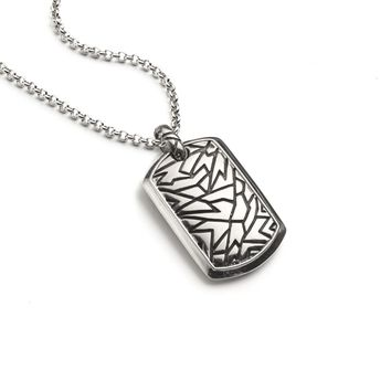 Thick Textured Dog Tag Necklace