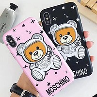 """Hot Sale """"MOSCHINO"""" Popular Women Men Lovely Stars Astronaut Teddy Bear Soft Mobile Phone Cover Case For iphone 6 6s 6plus 6s-plus 7 7plus 8 8plus X XSMax XR"""