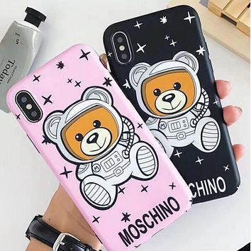 "Hot Sale ""MOSCHINO"" Popular Women Men Lovely Stars Astronaut Teddy Bear Soft Mobile Phone Cover Case For iphone 6 6s 6plus 6s-plus 7 7plus 8 8plus X XSMax XR"