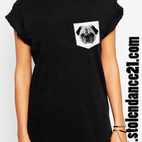 Pug Life Real Pocket Tee Crew Neck Top T shirt code50837