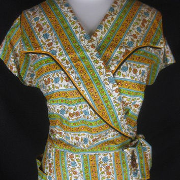 Vintage 40s SANDRA Lee NWOT Cotton Ladies Wrap Dress W40