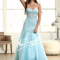 Mac Duggal 61986H Lace Applique Mermaid Prom Dress Evening Gown