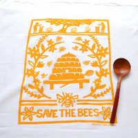Flour Sack Dish Towel - Bees:  Lilac or Yellow