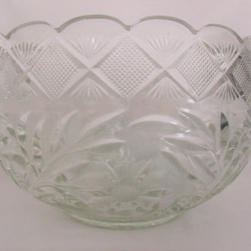 L.E. Smith EAPG Punch Bowl Set With 18 Matching Cups, Poinsettia Pattern