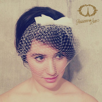 "Birdcage Veil with Bow, Russian Netting, Blusher Veil, Bridal Birdcage Veil, Wedding Head Piece, Ivory or White ""Cosette"""""