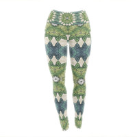 "Art Love Passion ""Forest Leaves Repeat"" Green Teal Geometric Yoga Leggings"