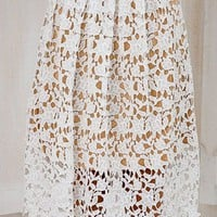 Crochet Flower Lace A-Line Skirt
