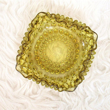 Vintage Mid Century Amber Pressed Glass Ashtray