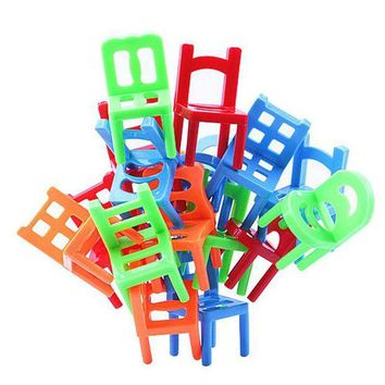 CREYONV brand new 18x plastic balance toy stacking chairs for kids desk play game toys parent child interactive party game toys
