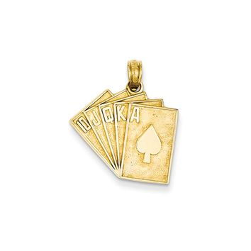 14k Yellow Gold Royal Flush in Spades Playing Cards Pendant