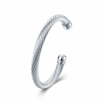 Womens 925 Sterling Silver Twisted Cable Open Cuff Bangle Fashion Bracelet #B198