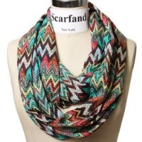 Scarfand's Multicolored Chevron Zig Zag Infinity Scarf (Green Red)