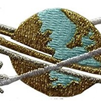 "[Single Count] Custom and Unique (3 1/4"" x 1 1/4"" Inches) Planet Earth With Orbital Rings Iron On Embroidered Applique Patch {Blue, Gold and Silver Colors}"