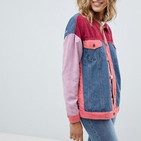 PrettyLittleThing Patchwork Denim Jacket at asos.com