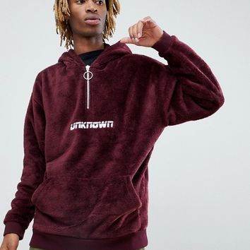 ASOS x Unknown London Oversized Borg Hoodie With Half Zip at asos.com