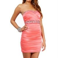 Sale-coral Strapless Short