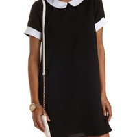 Black/White Peter Pan Collar Cuffed Shift Dress by Charlotte Russe