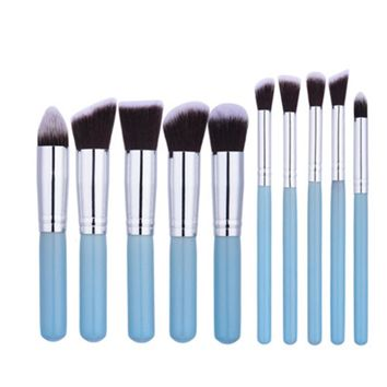 10pcs/set Mini Blue Make up Cosmestic Brushes Sets Makeup Brusher Synthetic Face Cheek Eyes Lips Beauty Tool