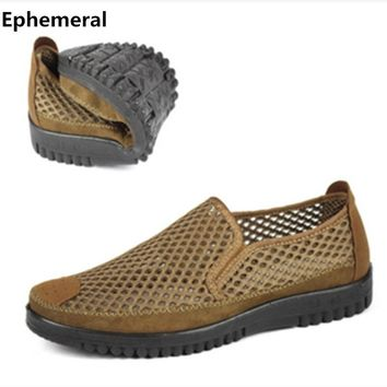 Men slip-on loafers summer breathable man shoes european stye casual round toe cut-out thick bottom platform plus size 47-38  46