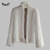 BF FUR 2017 Nature Knitted Rabbit Fur Coat Jacket Real Fur Short Coats Women Winter Fur Overcoat Plus Size BF-C0130-3
