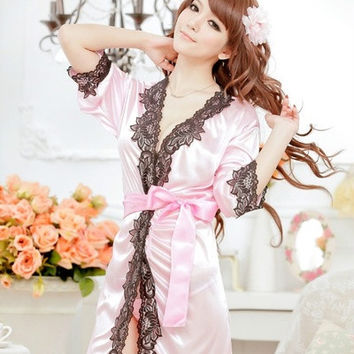 Sexy Lingerie Lace 3/4 Sleeve V Neck Bathrobe Sleepwear dress Exotic(one size) = 1932547972