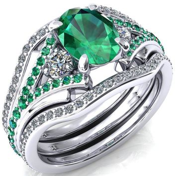 Arietis Oval Lab-Created Emerald Diamond Sides 3/4 Eternity Accent Emerald Ring