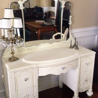 Vintage 1930s vanity Hand Painted Ivory Distressed with Bench and Mirror