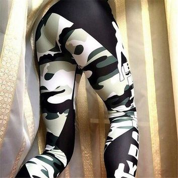 2017 women's new Green Camo letters print sports fitness jegging jogging activewear gear run Sporty Outfits Leggings Yoga pants