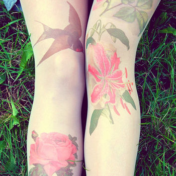 Retro Flovers and Swallow - Tattoo Tights - Free Shipping - Made to order :)