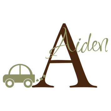 Personalized Vinyl Car Wall Decal Monogram Initial & Name Wall Decal Boy Baby Nursery Boys Room Toddler Room Wall Art 22H x 36W BN008