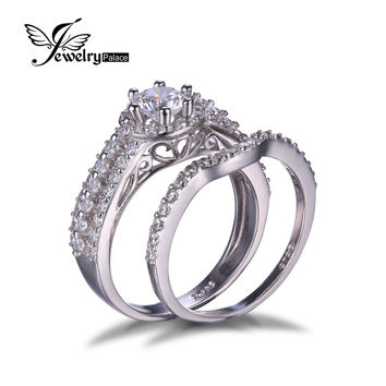 High Quality Solid 925 Sterling Silver Ring Cubic Zirconia Wedding Engagement Rings Charm 2 piece set Bridal Ring Sets For Women