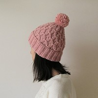 Hand Knitted Hat in Powder Pink - Beanie with Pom Pom - Seamless - Wool Blend